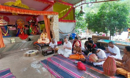 Sevakapati Das Leading Sankirtana at His Temple in Puzhal