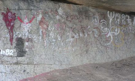 3,000 Year Old Cave Paintings at Yogimatha Covered in Graffiti